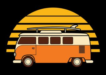 Sunset Van print ready vector t shirt design