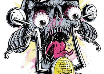 Skull Biker t shirt design for download