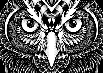 Owl Ornate design for t shirt