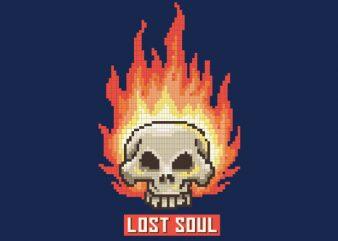 Burning Skull Lost Soul Pixel Art tshirt design