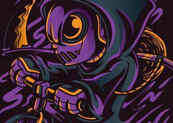Reaper as Biker print ready vector t shirt design