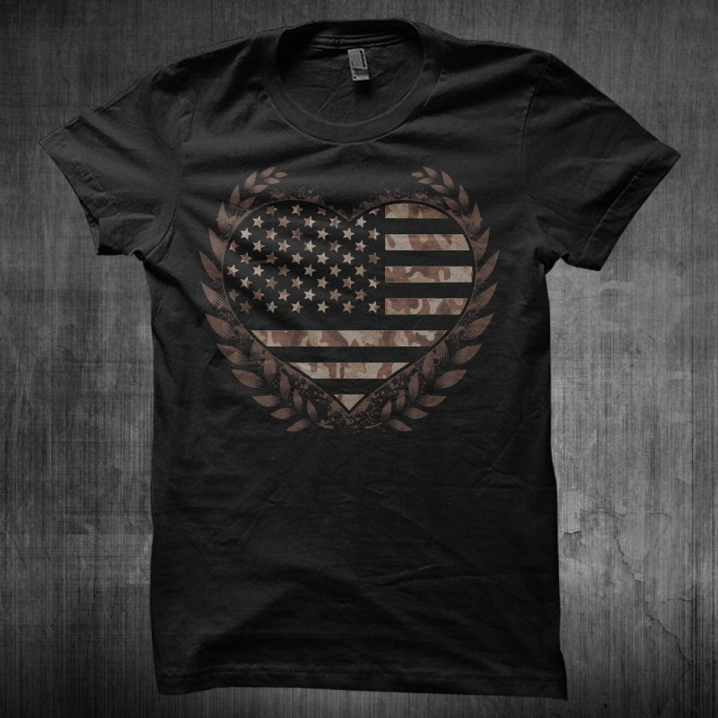 Camo Flag Heart Desert buy t shirt design