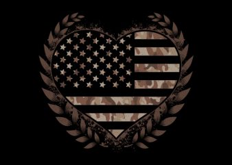 Camo Flag Heart Desert t shirt vector file