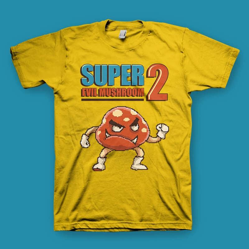 Super Evil Mushroom tshirt design tshirt-factory.com