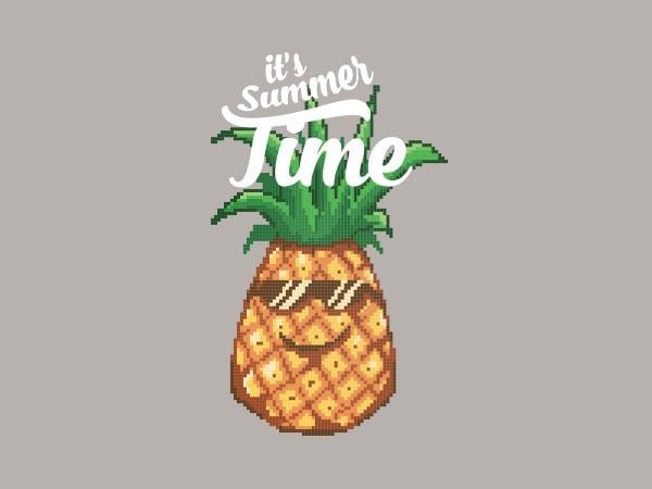 Happy Summer Pineapple Pixel Art Tshirt Design