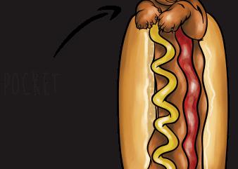 Hotdog pocket t shirt design for sale