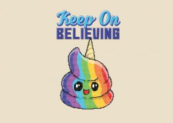 Keep On Believing Unicorn Pixel Art shirt design
