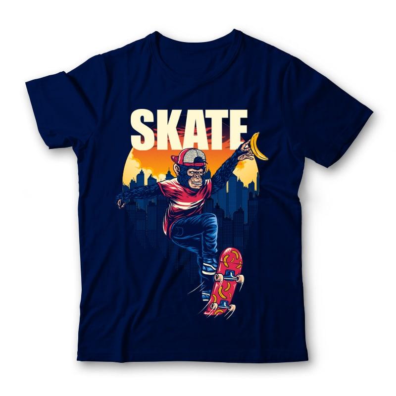 Monkey SK8 Tshirt Design commercial use t shirt designs