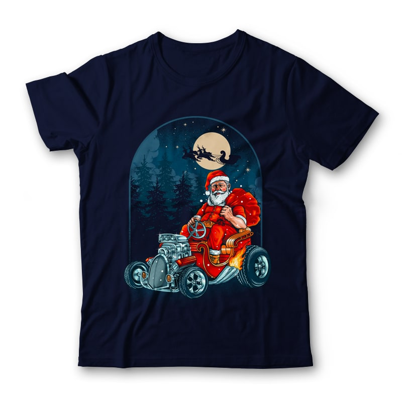 Hotrod Santa Graphic Tee Design tshirt designs for merch by amazon