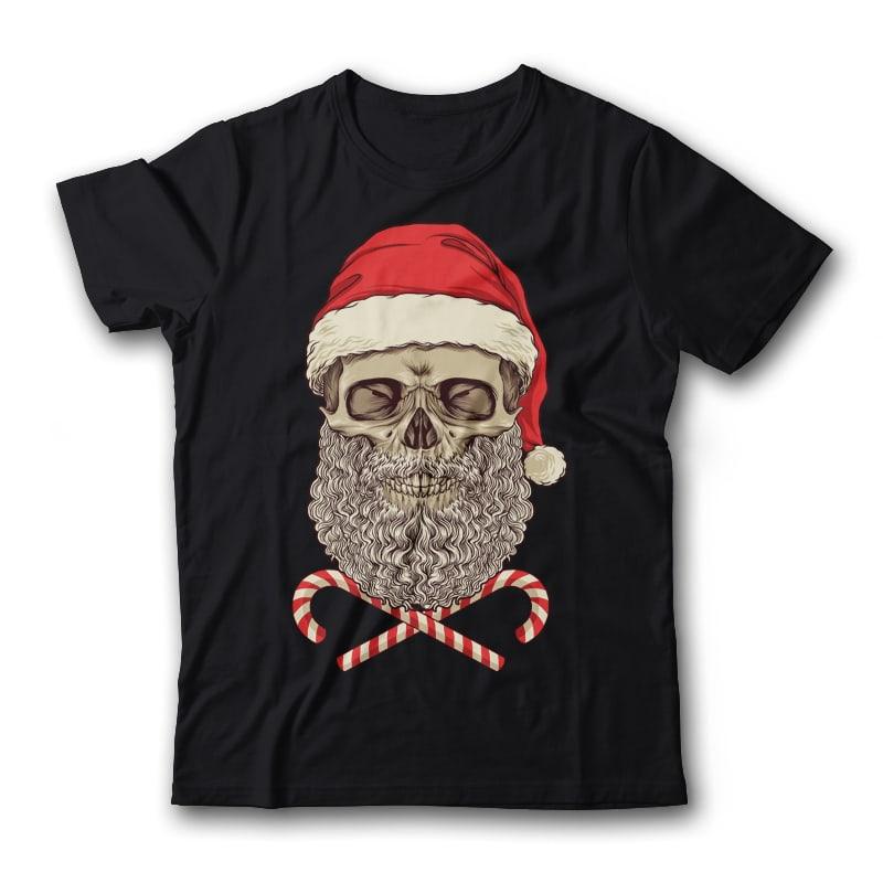 Santa Skull T-Shirt Design t shirt designs for merch teespring and printful