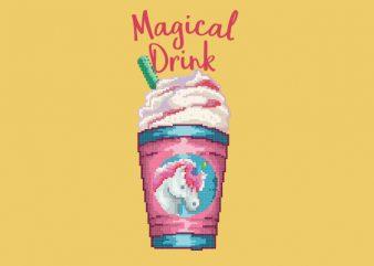 Magical Unicorn Drink Vector t-shirt design