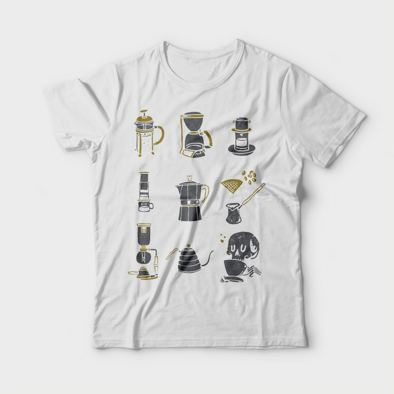Coffee Equipment t shirt designs for printify