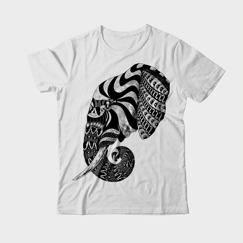 Elephant Ornate vector t shirt design
