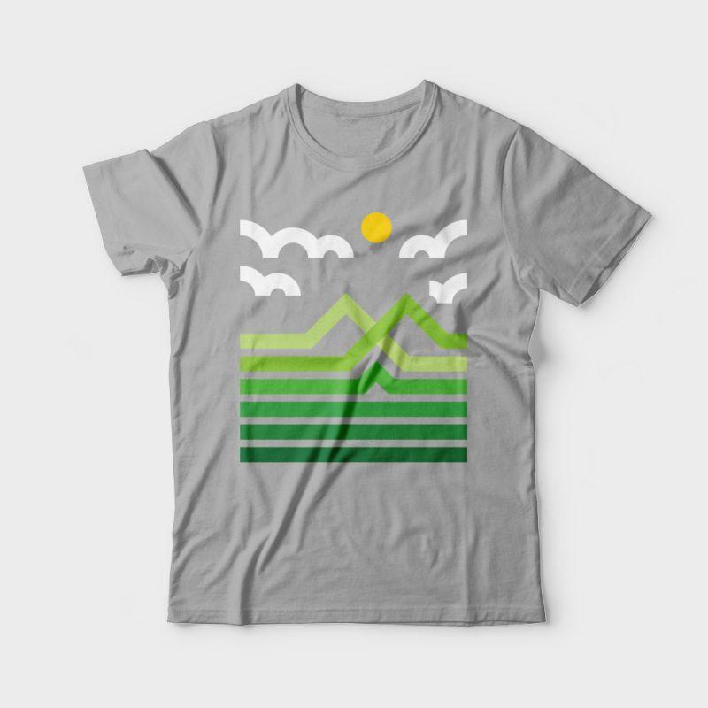 Mountain t shirt designs for printful
