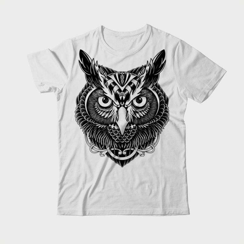 Owl Ornate tshirt design for sale