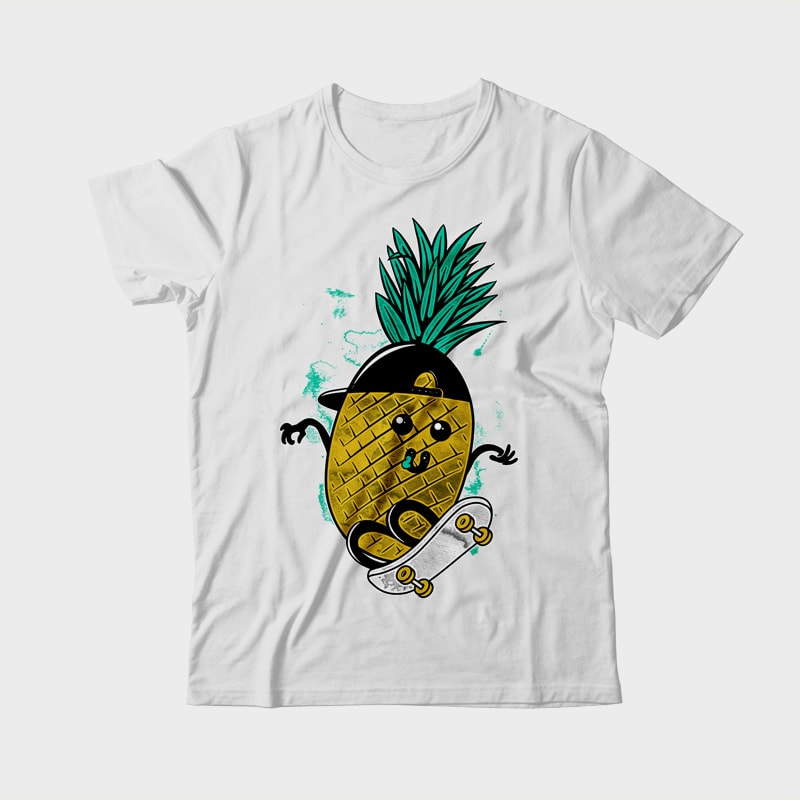 Pineapple Skateboarding t shirt design graphic