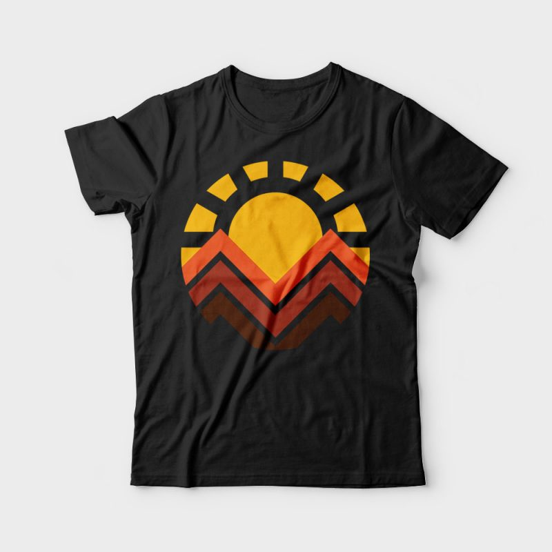 Sunset Mountain tshirt designs for merch by amazon