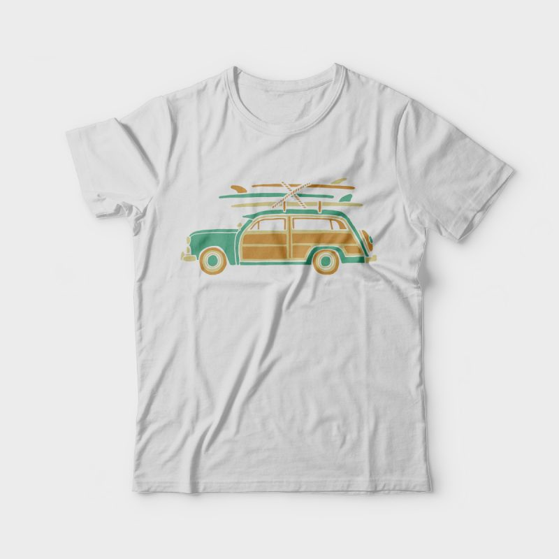Surf Car t-shirt designs for merch by amazon
