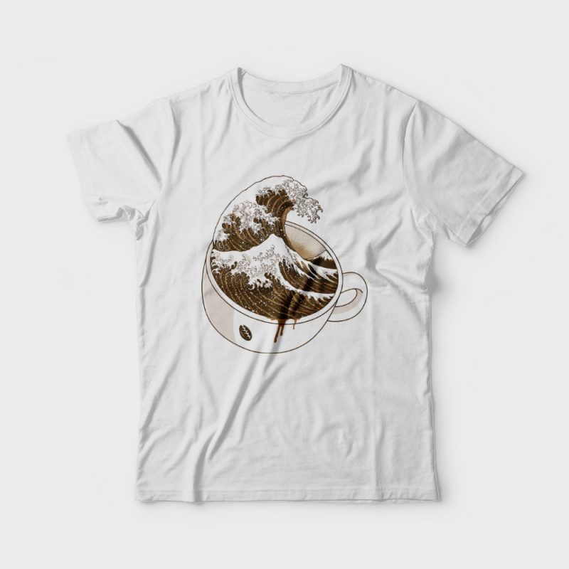 The Great Wave off Coffee t shirt designs for merch teespring and printful
