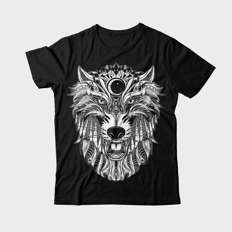 Wolf vector shirt designs