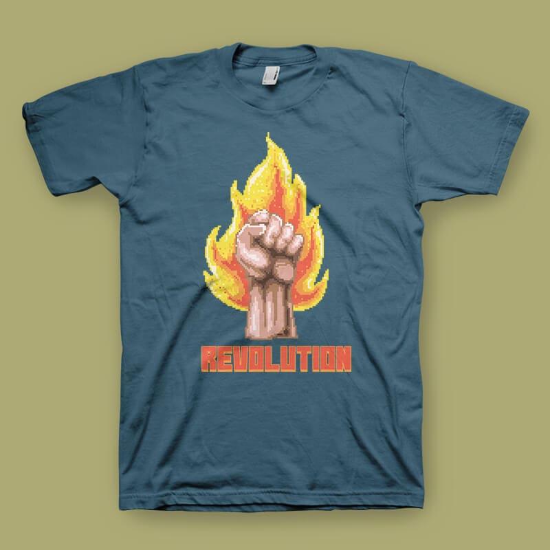 Revolution Vector t-shirt design t shirt designs for printify