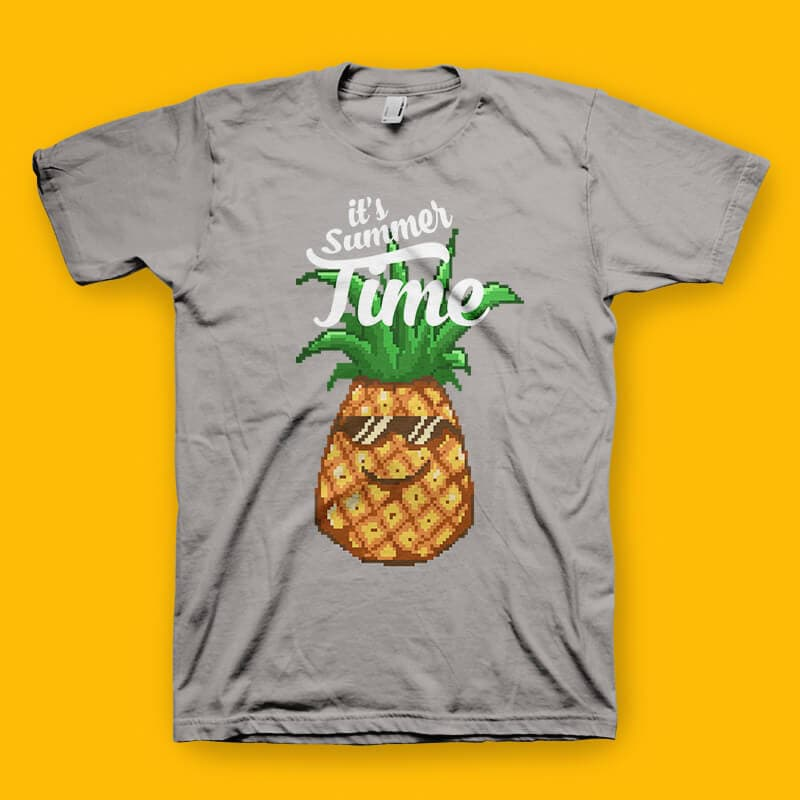 Happy Summer Pineapple Pixel Art Tshirt Design