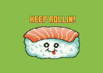 Sushi Pixel Art Food Character tshirt design