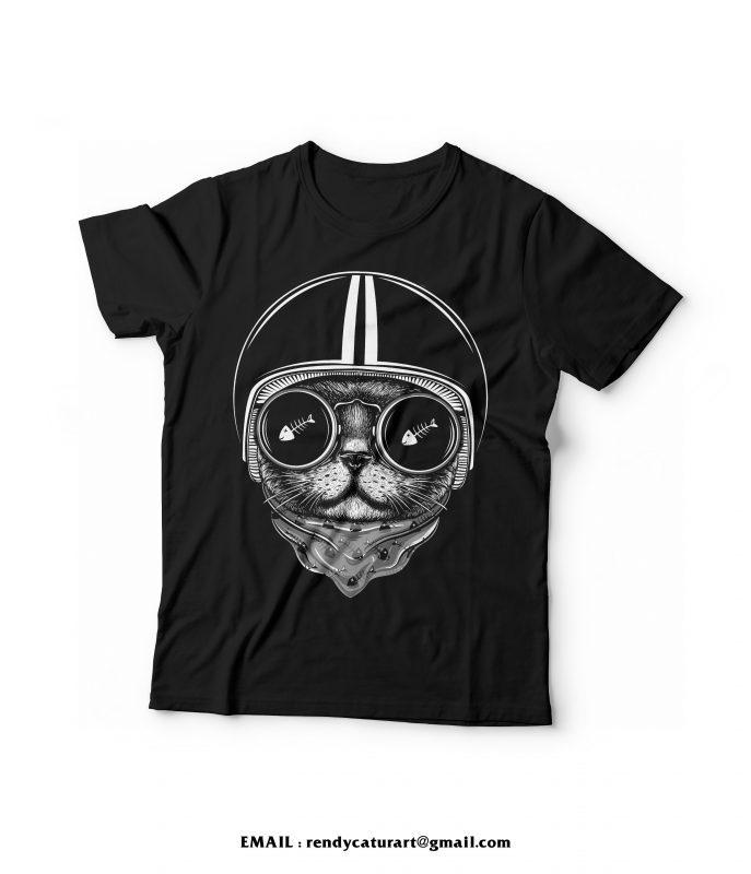 cat rider tshirt design t shirt design graphic