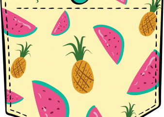 Tropical fruits pocket vector t shirt design artwork