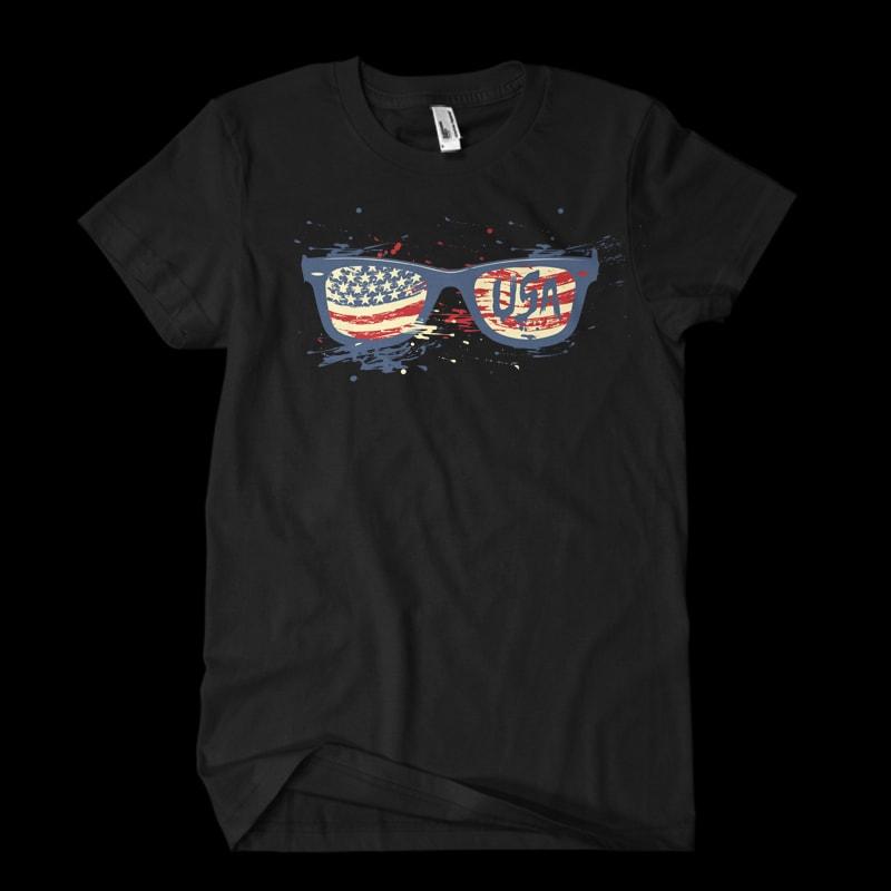 USA sunglasses t shirt designs for printful