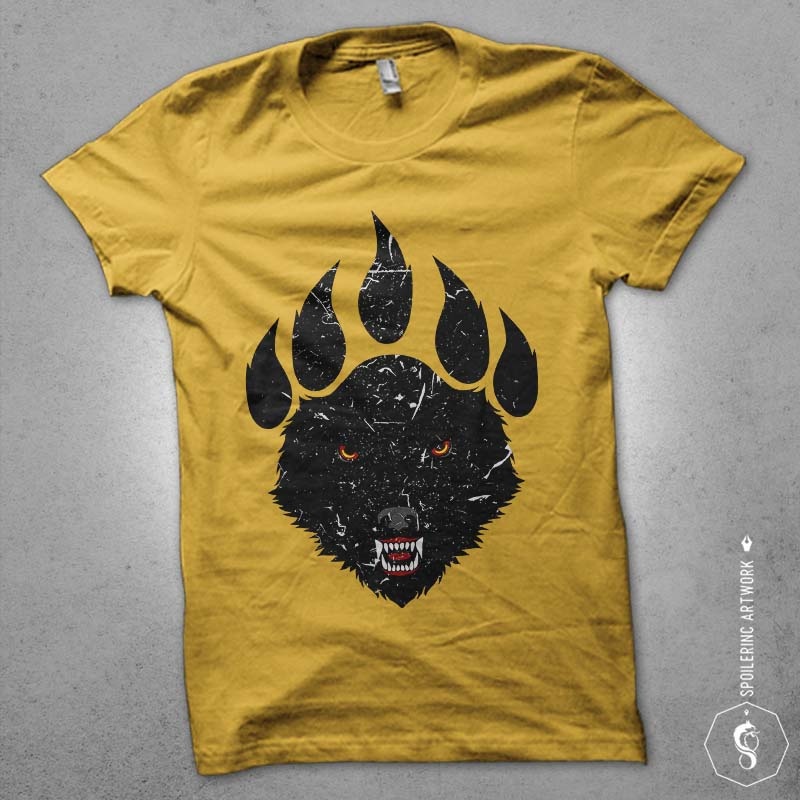 wolf claw commercial use t shirt designs
