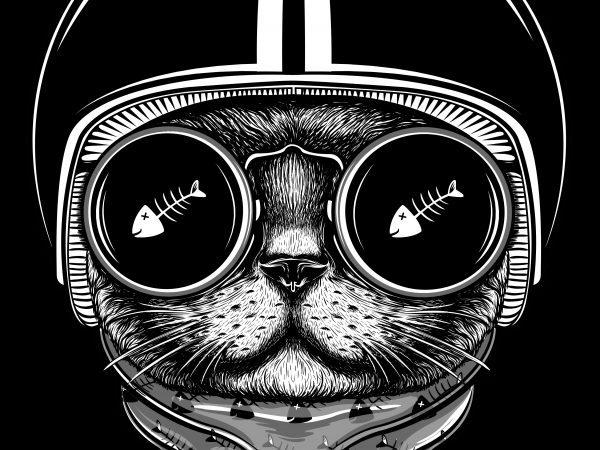 cat rider tshirt design