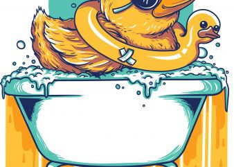 bathing duck vector tshirt design