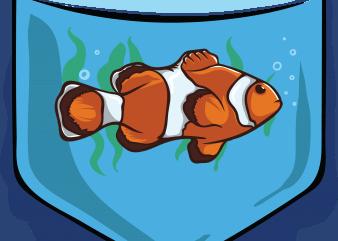 Fish pocket vector shirt design