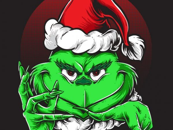 Grinchy Claus vector t-shirt design for commercial use