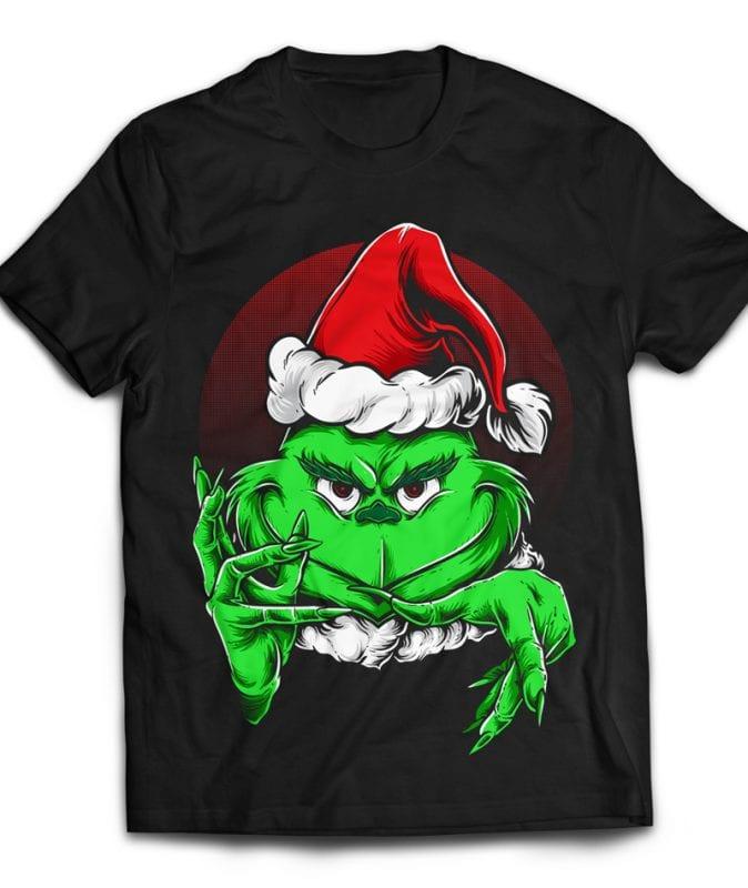 Grinchy Claus tshirt design for merch by amazon