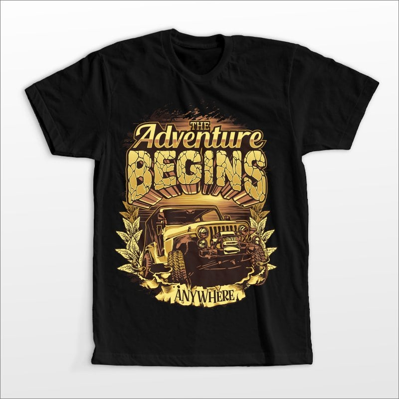 The Adventure begins t shirt designs for print on demand