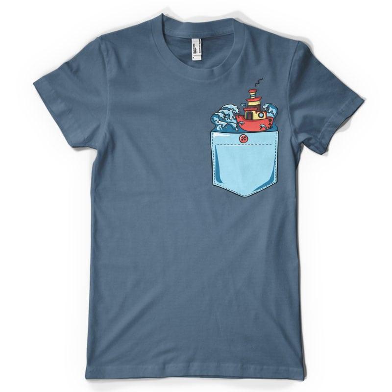 Angry waves vector t-shirt design bundle