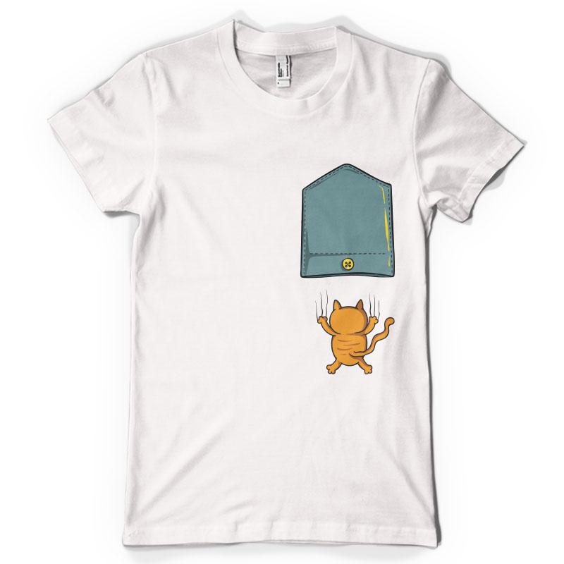 Falling cat pocket tshirt design combo