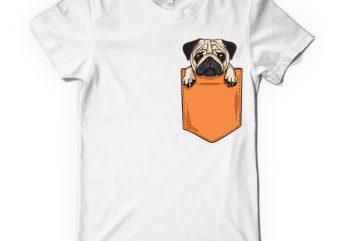 Pug pocket vector t-shirt design template