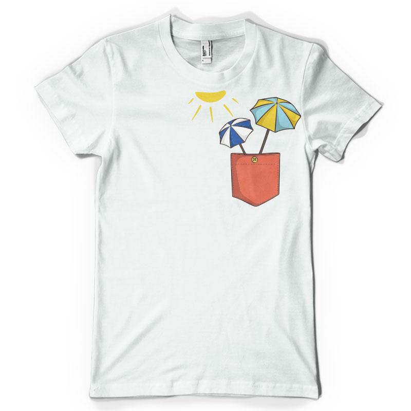 Sun umbrella pocket vector t shirt design bundle