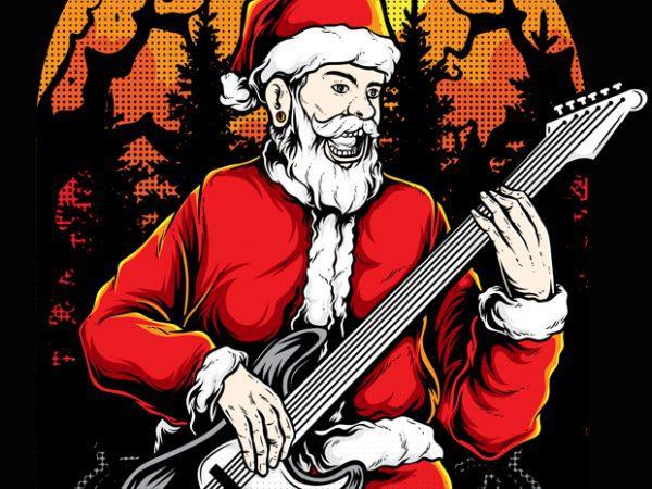 Rocker Santa print ready shirt design