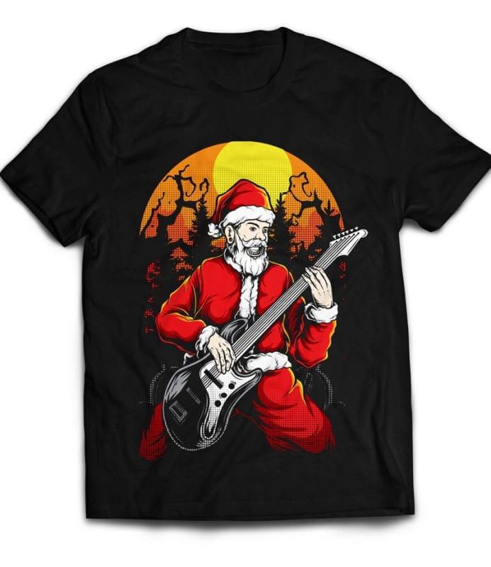 Rocker Santa commercial use t shirt designs