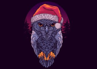 Santa Owl Graphic tee design