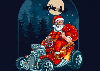 Hotrod Santa Graphic Tee Design