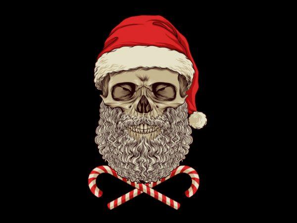 Santa Skull T-Shirt Design