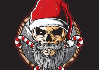 Skull Santa t shirt template vector