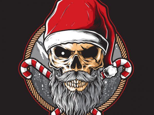 Skull Santa t shirt template vector