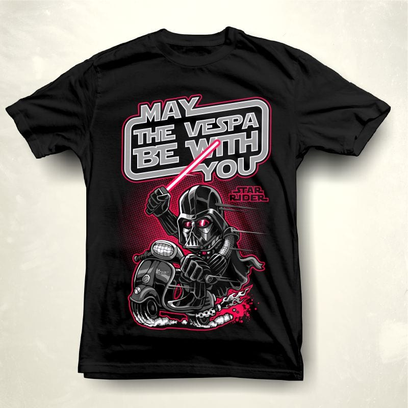 May vespa be with you t shirt designs for printful