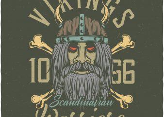 Vikings warriors. Vector T-Shirt Design